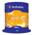 Диск DVD-R Verbatim 4,7Gb 16x Cake Box (100шт) [43549]