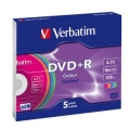 Диск DVD+R Verbatim 4,7Gb 16x Slim Color (5шт) (43556)