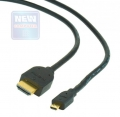 Кабель HDMI- microHDMI 3.0м Cablexpert 19м/19м, позол.разъемы ,черный [CC-HDMID-10]