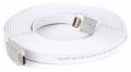 Кабель HDMI- HDMI 5m Aopen 19M/M ver 2.0 серебряно-белый Flat [ACG568F-S-5M]