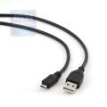 Кабель USB 2.0 Am->microB 5P 1.0m, экран.., черный, Gembird [CCP-mUSB2-AMBM-1M]