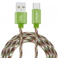 Кабель USB 2.0 Am->microB 5P 1.0m хаки, Crown CMCU-3092M military