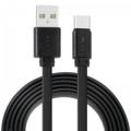Кабель USB 2.0 Am->microB 5P 1.0m черный, Crown CMCU-3022M плоский