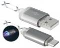 Кабель USB 2.0 Am->microB 5P 1.0m серый, LED Defender [USB08-03LT]
