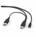 Кабель USB 2.0 Am*2->miniB 5P 0.6m (CCP-USB22-AM5P-2)