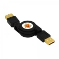 Кабель USB 2.0 Am->Bm 0.75m Konoos [KCR-USB2-AMBM-0.75] черный, позол.разъемы, кабель-рулетка