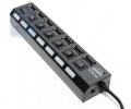 Разветвитель  USB 2.0 5bites HB27-203PBK 7*USB2.0 / БП 5В-2А / 1M / BLACK