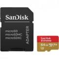 Карта памяти microSDXC 64Gb SanDisk UHS-I U3 Extreme 90MB/s+SD(SDSQXVF-064G-GN6MA)