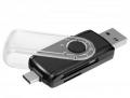 Карт-ридер внешний Ginzzu GR-588UB USB 3.0/Type C OTG переходник-картридер для компьютеров и смартфонов, поддержка форматов SD/SDXC/SDHC/MMC и microSD/SDXC/SD