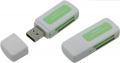 Карт-ридер внешний ORIENT CR-011G, USB 2.0 мини картридер SDHC/SDXC/microSD/MMC/MS/MS Duo/M2, белый с зеленым