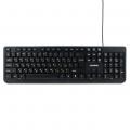 Клавиатура Гарнизон GK-115 USB, черный, поверхность- шлифованный алюминий