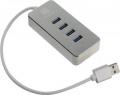 Разветвитель USB 3.0 5bites HB34-308SL 4*USB3.0 / AL / USB PLUG / SILVER