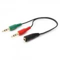 Кабель аудио Gembird CCA-418 20см джек3.5 нушники + 3.5 микрофон-> джек3.5 4pin