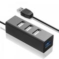 Разветвитель  USB 3.0 Ginzzu GR-339UB 1 порт USB 3.0 + 3 порта USB 2.0, интерфейсный кабель USB3.0 - 30 см, упаковка блистер, черный