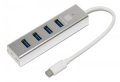 Разветвитель USB 3.0 5bites HB34C-309SL 4*USB3.0 / AL / TYPE-C PLUG / SILVER