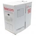 Кабель сетевой LSZH UTP 5e 305m Telecom 4х2х0.2мм с низким дымовыделением с нулевым содержанием галогенов (UTP4-TC305C5EN-CCA-IS-LSZH)