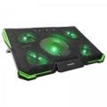 "Подставка для ноутбука Crown CMLS-k332 green 19"" кулеры: D140mm*1+ D80mm*4, зелёная led подсветка, регулятор скорости, 7 уровней наклона"