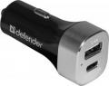 Адаптер питания автомобильный Defender UCG-01 1 порт USB + TypeC, 5V / 5.4A (83569)