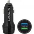 Адаптер питания автомобильный Crown CMCC-3011 два порта зарядки; входное напряжение 12-24В; выходной ток USB1: DC 5В—1А; USB2: DC 5В—2,4А