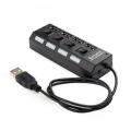 Разветвитель USB 2.0 Gembird UHB-U2P4-02 с подсветкой и выключателем, 4 порта
