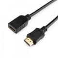 Удлинитель кабеля HDMI Cablexpert 4.5м, v2.0, 19M/19F, черный, позол. разъемы, экран [CC-HDMI4X-15]