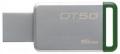 Флеш диск 16Gb Kingston DT50 USB-3.0, Металл/Зелёный