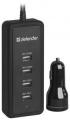 Адаптер питания автомобильный Defender ACA-02 5 портов USB, 5V/9.2A (83568)