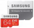 Карта памяти microSDXC 64Gb Samsung EVO PLUS microSDXC Class 10, UHS-I, (SD адаптер) 100MB/s (MB-MC64HA/RU)