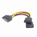 Разветвитель питания SATA Cablexpert 15см, 15pin (M)/2x15pin(F) на 2 SATA устр,[CC-SATAM2F-01]
