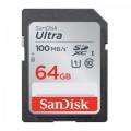 Карта памяти SDXC 64Gb SanDisk Class 10, UHS-I U1 Ultra 100MB/s (SDSDUNR-064G-GN6IN)