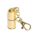 Флеш накопитель 16Gb Mirex Мини Пуля Золото металлический корпус с карабином