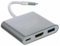 Разветвитель  Telecom USB3.1 TypeCm -->HDMI+USB3.0 +PD charging 4K@30Hz (TUC010)