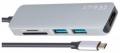 Разветвитель USB   Vcom Хаб USB 3.1, Type-CM-->HDMI+2*USB3.0+TF+SD docking space, металлический корпус (CU430M)