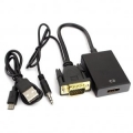 Переходник VGA+аудио=>HDMI Cablexpert 19M/15F, длина 15см [A-VGA-HDMI-01]
